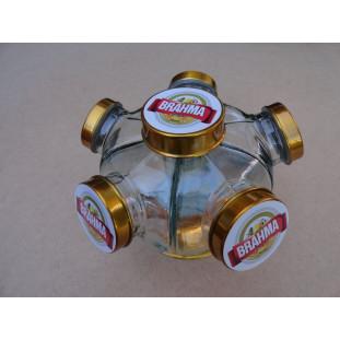 Baleiro Vidro Temático Cerveja Brahma Giratório Pequeno Novo