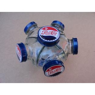 Baleiro Vidro Temático Pepsi Cola Giratório Pequeno Novo