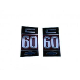 Emblema Caminhão Chevrolet C-60 Gasolina Original Usado - Par
