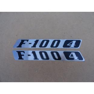 Emblema F-100 4 Cilindros Emblema Lateral Capô F-100 1976 a 1979 - Par