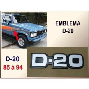 Emblema D-20 85 à 94 Plástico Cinza