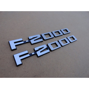 Emblema Lateral Ford F-2000 Cinza - Par