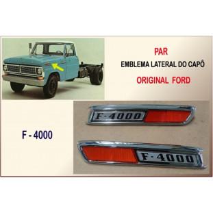 Emblema Lateral Capô F-4000 Original Ford - Par