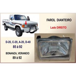 Farol Dianteiro D-20, C-20, A-20, Bonanza, Veraneio 85 à 92 Direito Plástico