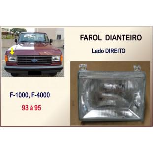 Farol Dianteiro F-1000, F-4000 93 à 95 Vidro Orgus Direito