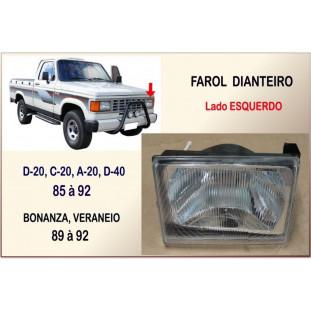 Farol Dianteiro D-20, C-20, A-20, Bonanza, Veraneio 85 à 92 Esquerdo Plástico