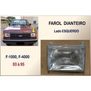 Farol Dianteiro F-1000, F-4000 93 à 95 Vidro Orgus Esquerdo