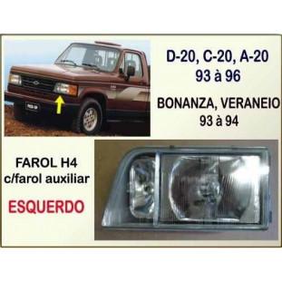 Farol H4 com Auxiliar D-20, C-20, A-20, Bonanza, Veraneio Esquerdo
