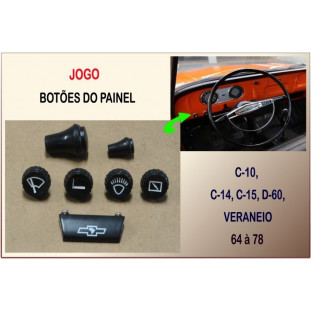 Botões do Painel C-10, C-14, C-15, D-60, Veraneio Preto - Jogo c/ 7 Peças