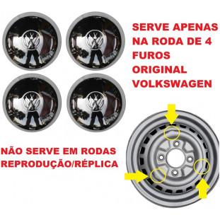 Calota Abaulada 4 Furos Cromada Fusca para Roda Original - Jogo