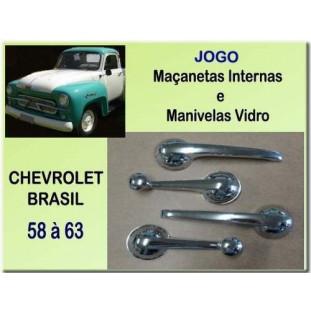 Maçaneta Interna e Manivela Vidro Chevrolet Brasil 58 à 63 - Jogo
