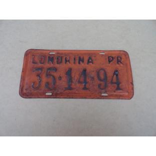 Placa Antiga Laranja Carro Década 50 60 Londrina 6 Números