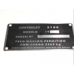 Plaqueta Chassi de Identificação Chevrolet Brasil 3100 58 à 63