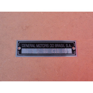 Plaqueta Identificação Chassi Gravação Baixo Relevo Opala