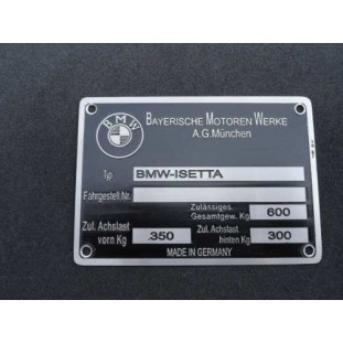 Plaqueta Identificação BMW Isetta 59 à 61