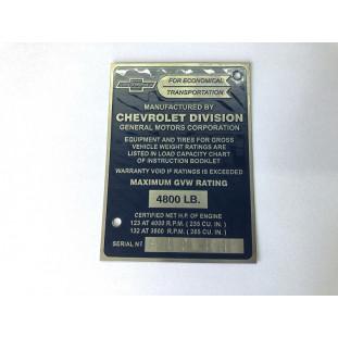 Plaqueta Identificação Chevrolet Marta Rocha 3100 55 A 59 Gravada Baixo Relevo
