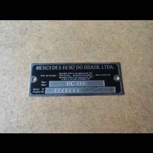 Plaqueta Identifica Motor Caminhão Mercedes C/ Grav Alto Rel