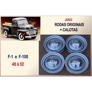 Roda Original e Calota F-1 48 à 52 Aro 16 Tala 5 - Jogo