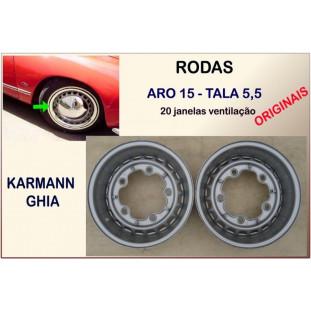 Rodas Originais Karmann Ghia Aro 15 Tala 5,5 5 Furos 20 Janelas Ventilação