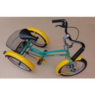 Triciclo Retrô Juvenil Modelo Antigo 5 a 10 Anos Com Pneu Verde e Amarelo