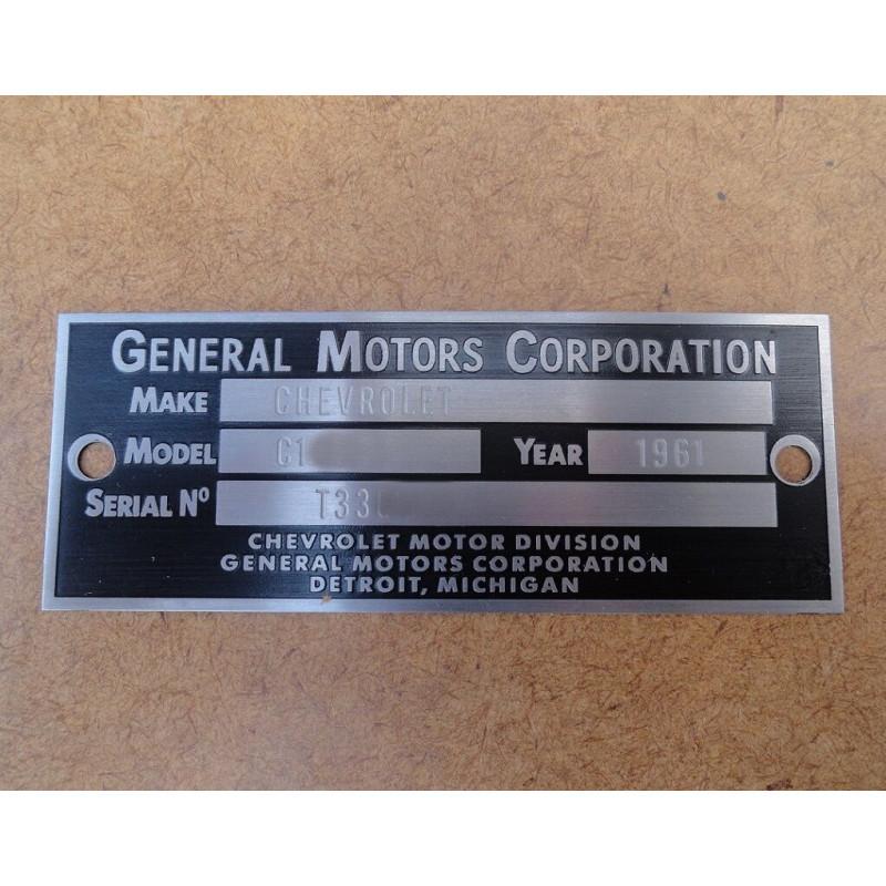Plaqueta Identificação Chevrolet Automóvel e Pick Up Década 50 60